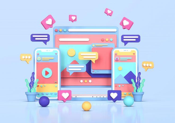 social media instagram digital marketing concept 3d rendering